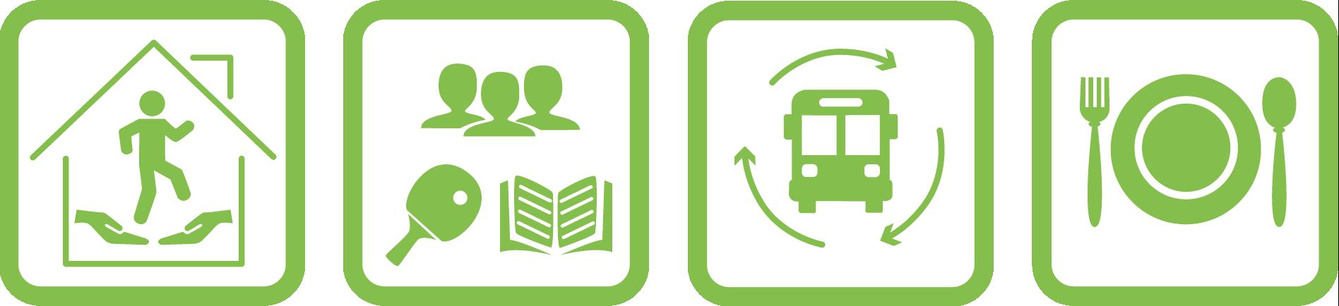 Icons zur besseren Visualisierung der Einrichtungsangebote